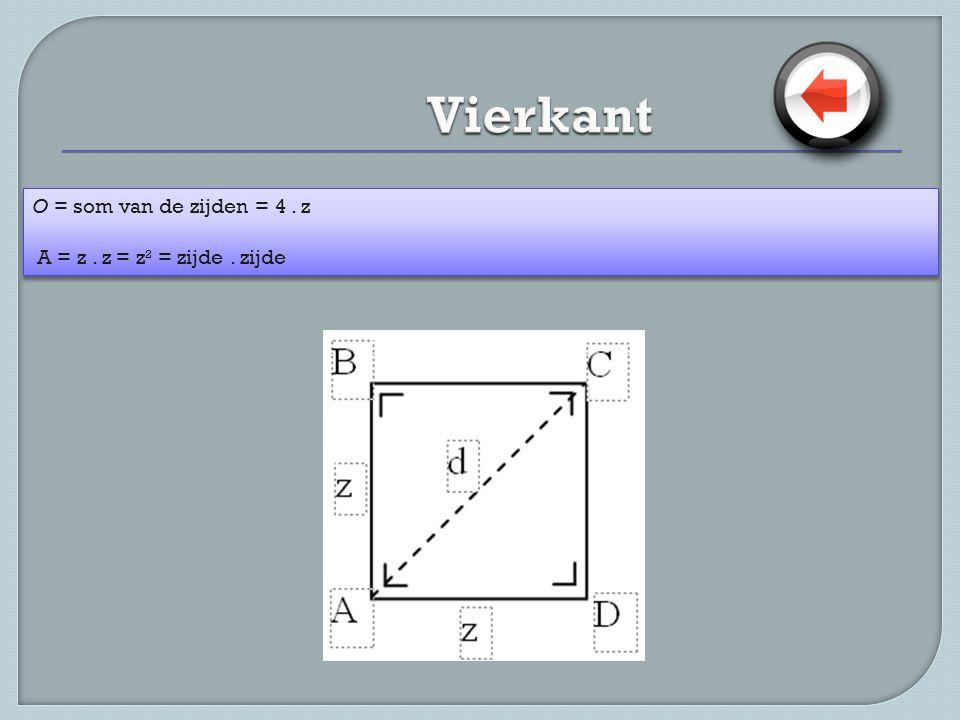 Vierkant O = som van de zijden = 4 . z A = z . z = z² = zijde . zijde