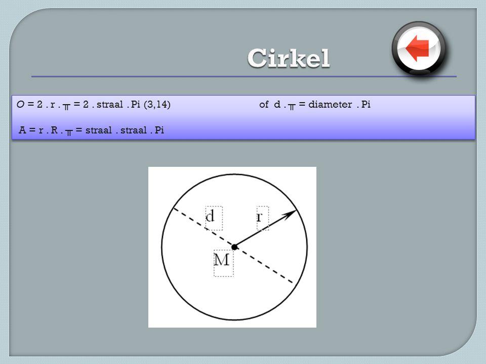 Cirkel O = 2 . r . ╥ = 2 . straal . Pi (3,14) of d . ╥ = diameter . Pi