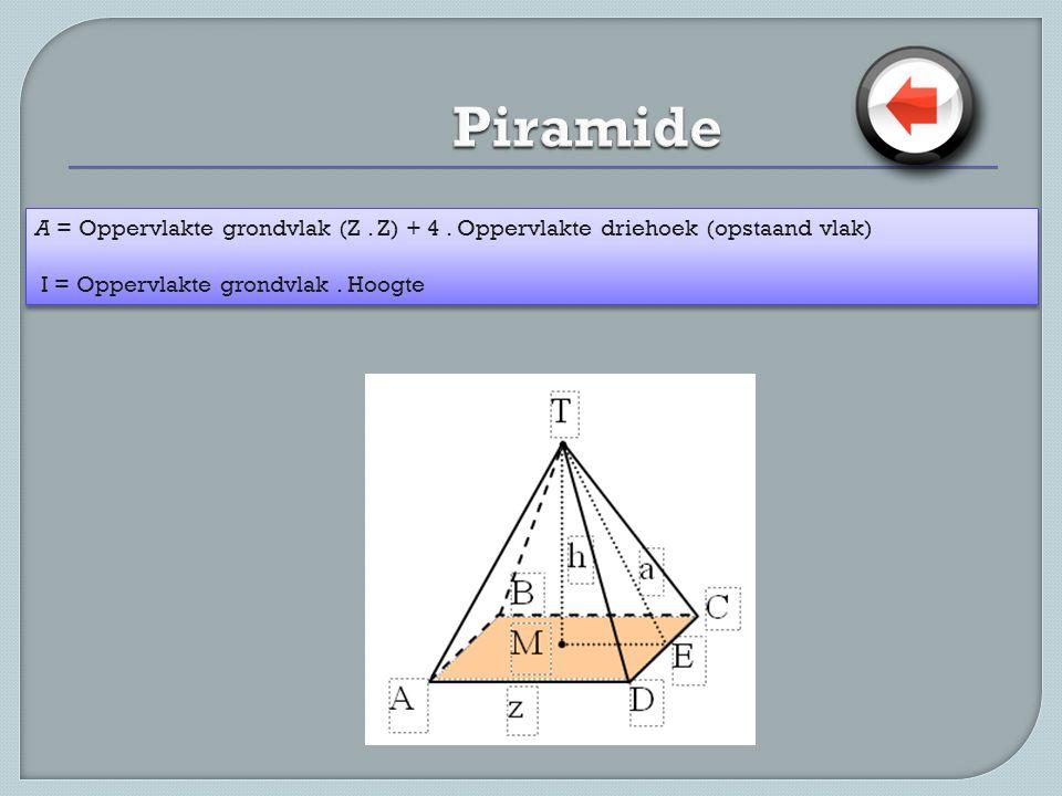 Piramide A = Oppervlakte grondvlak (Z . Z) + 4 .