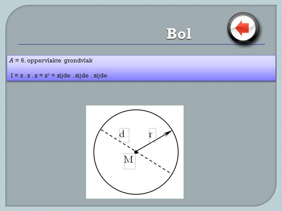 Bol A = 6. oppervlakte grondvlak