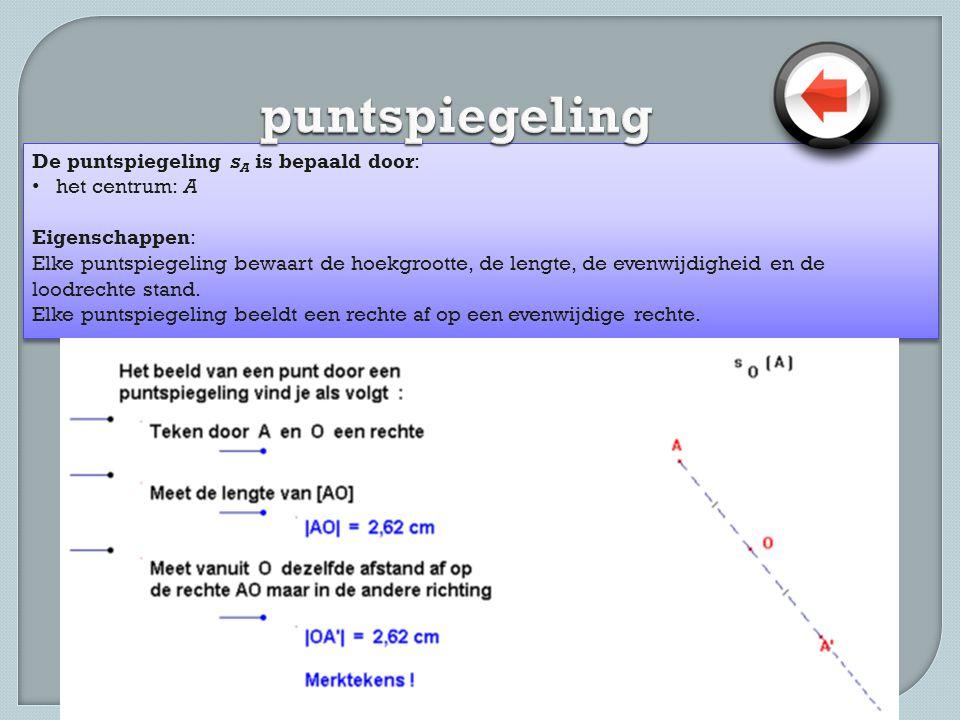 puntspiegeling De puntspiegeling sA is bepaald door: het centrum: A