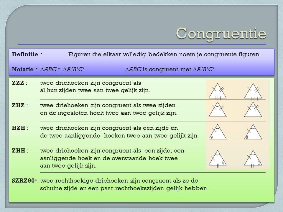 Congruentie Definitie : Figuren die elkaar volledig bedekken noem je congruente figuren. Notatie : ΔABC  ΔA'B'C' ΔABC is congruent met ΔA'B'C'