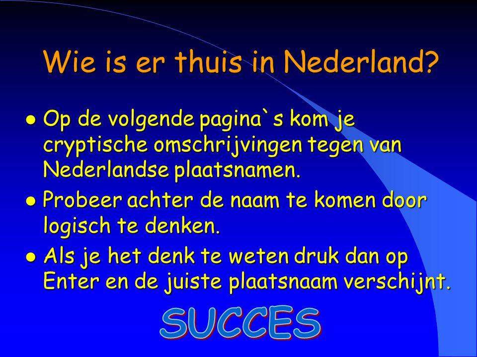 Wie is er thuis in Nederland