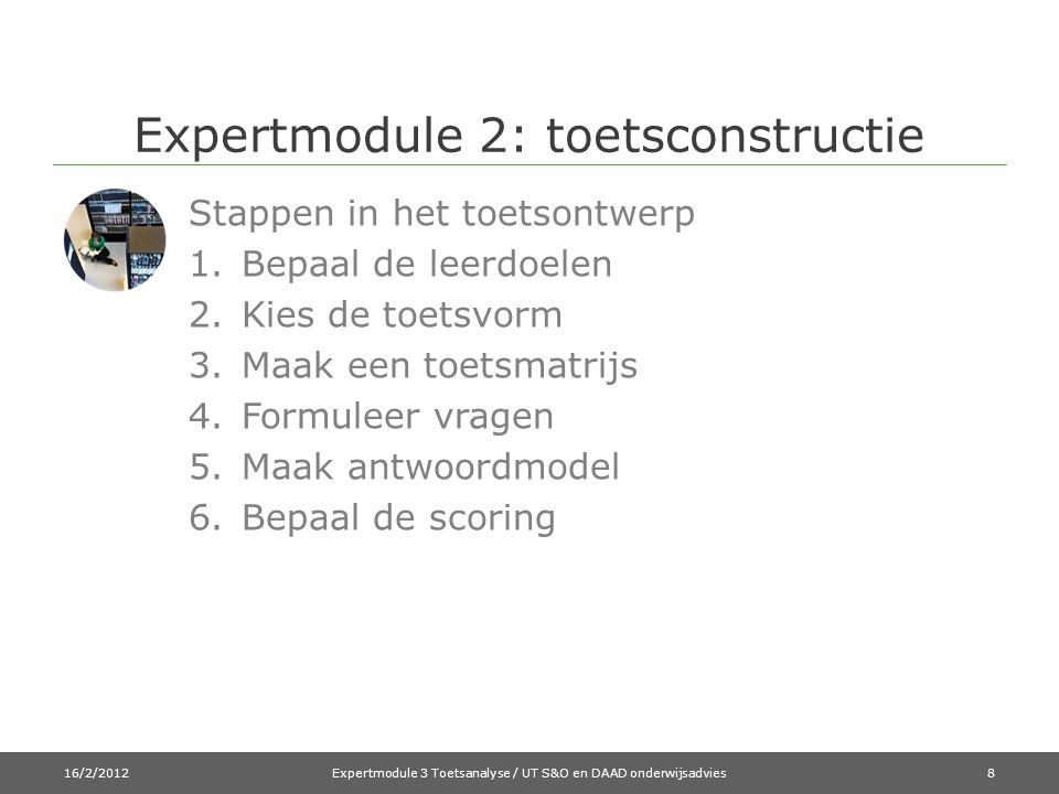 Expertmodule 2: toetsconstructie