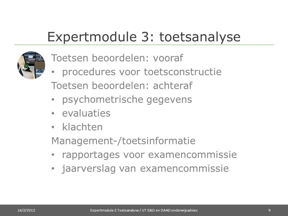 Expertmodule 3: toetsanalyse