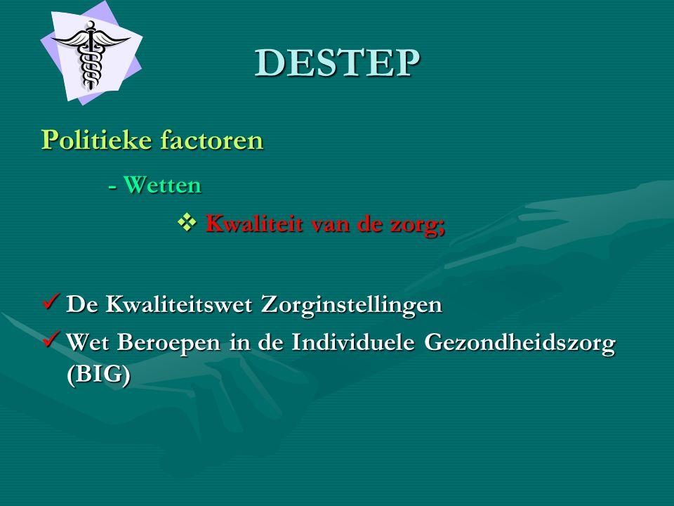 DESTEP Politieke factoren - Wetten Kwaliteit van de zorg;