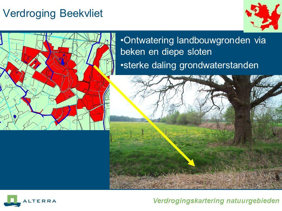 Verdroging Beekvliet Ontwatering landbouwgronden via beken en diepe sloten.