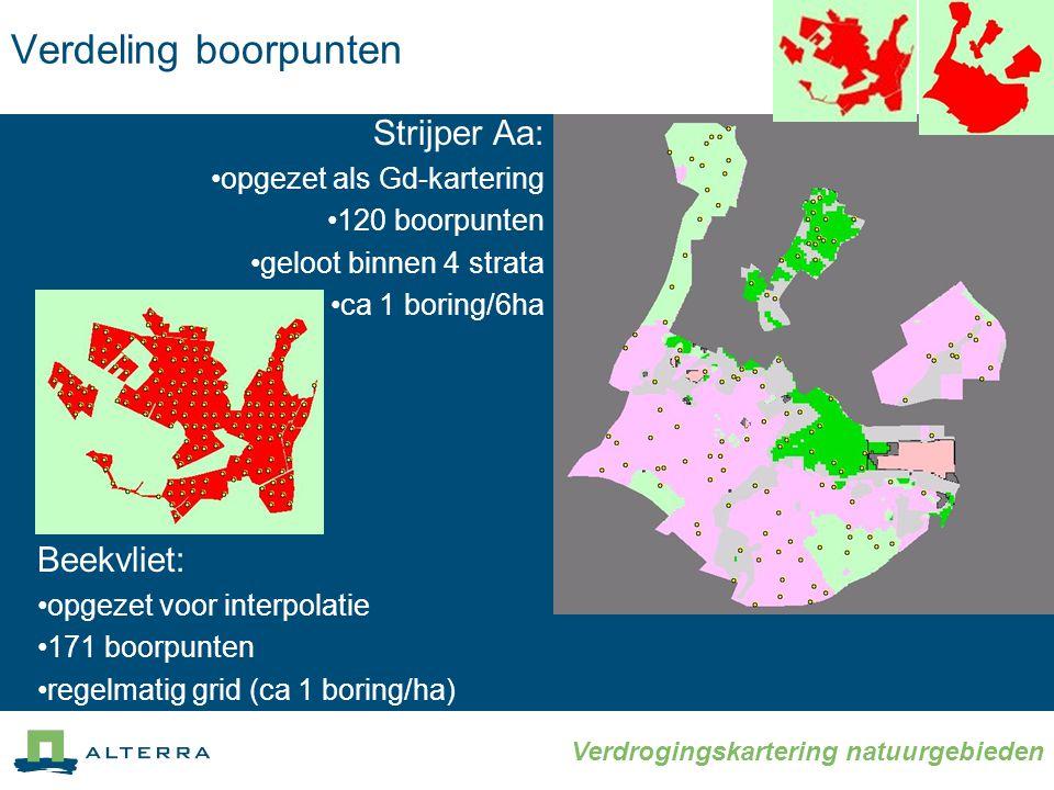 Verdeling boorpunten Strijper Aa: Beekvliet: opgezet als Gd-kartering