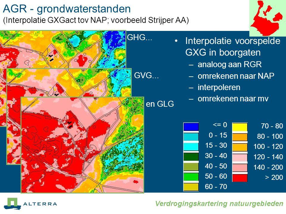 AGR - grondwaterstanden (Interpolatie GXGact tov NAP; voorbeeld Strijper AA)