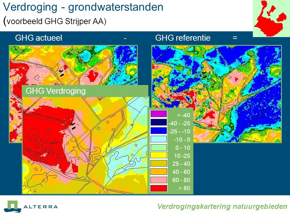 Verdroging - grondwaterstanden (voorbeeld GHG Strijper AA)