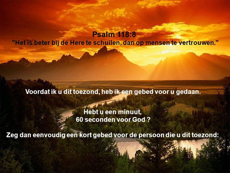 Psalm 118:8 Het is beter bij de Here te schuilen, dan op mensen te vertrouwen.