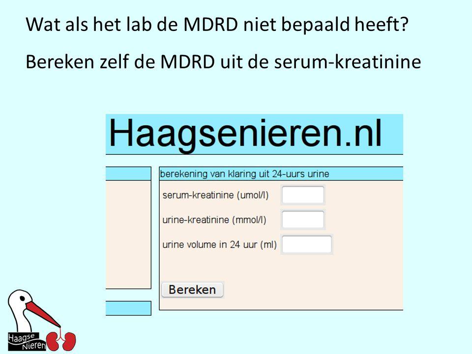 Wat als het lab de MDRD niet bepaald heeft