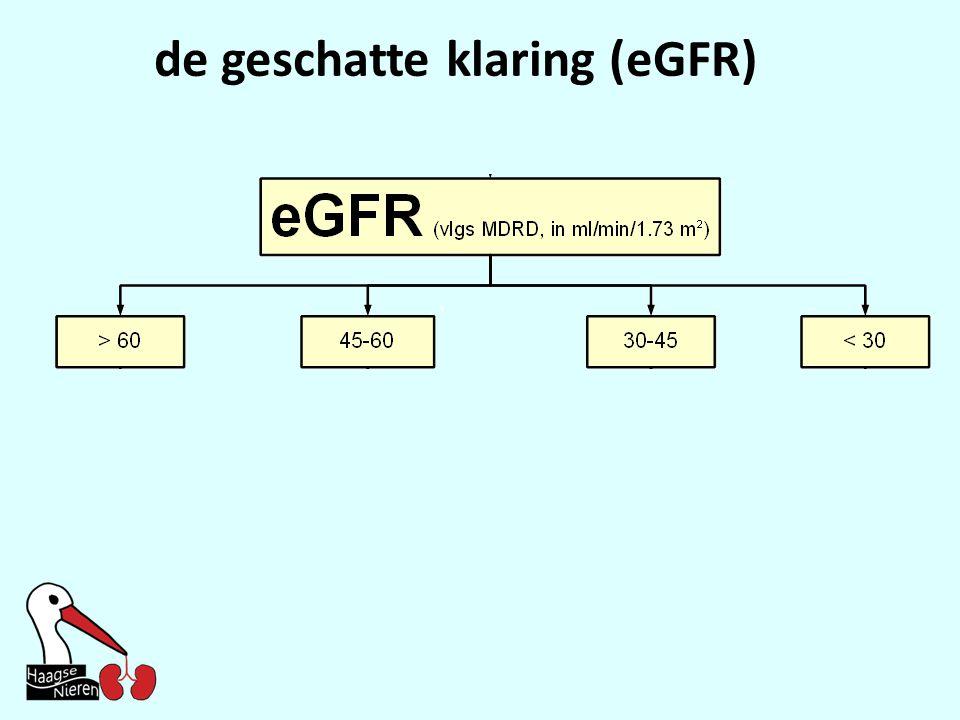 de geschatte klaring (eGFR)