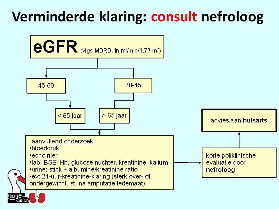 Verminderde klaring: consult nefroloog