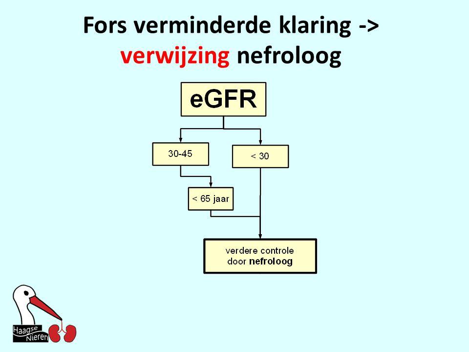 Fors verminderde klaring -> verwijzing nefroloog