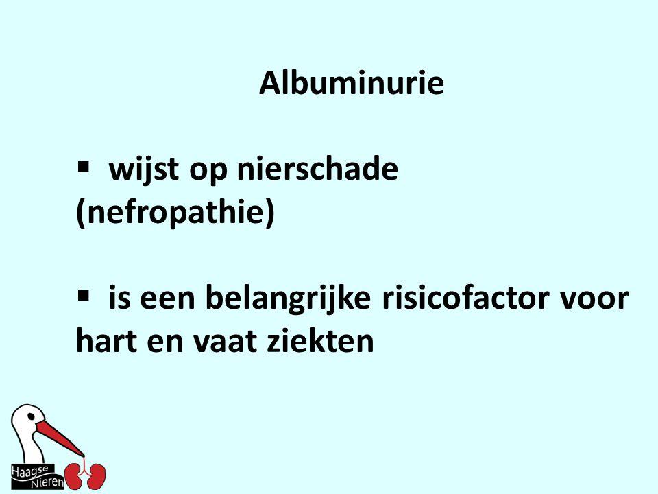 Albuminurie wijst op nierschade (nefropathie) is een belangrijke risicofactor voor hart en vaat ziekten.