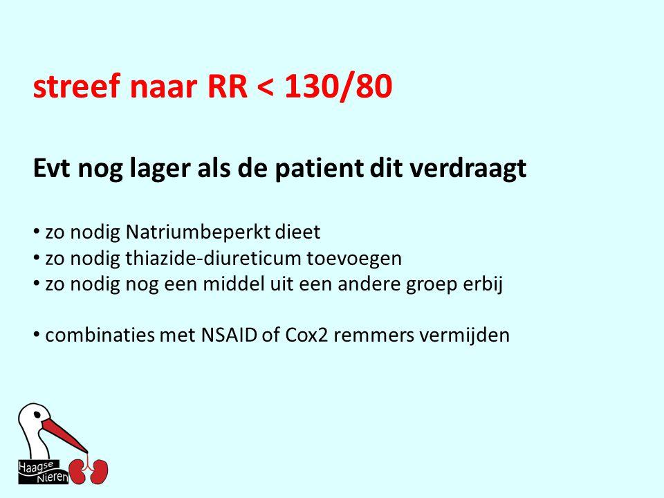streef naar RR < 130/80 Evt nog lager als de patient dit verdraagt