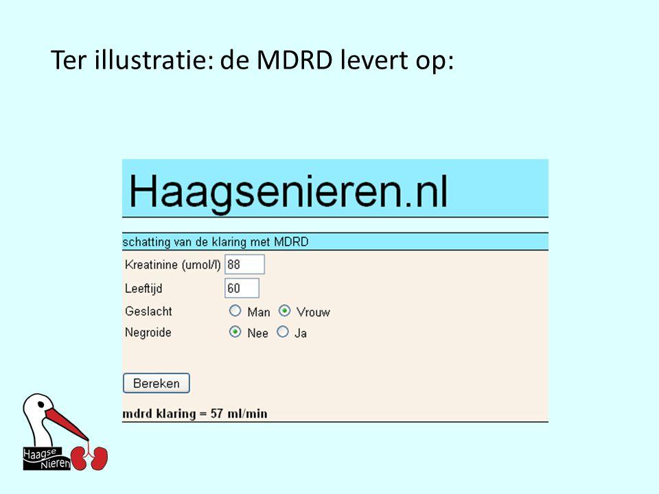 Ter illustratie: de MDRD levert op: