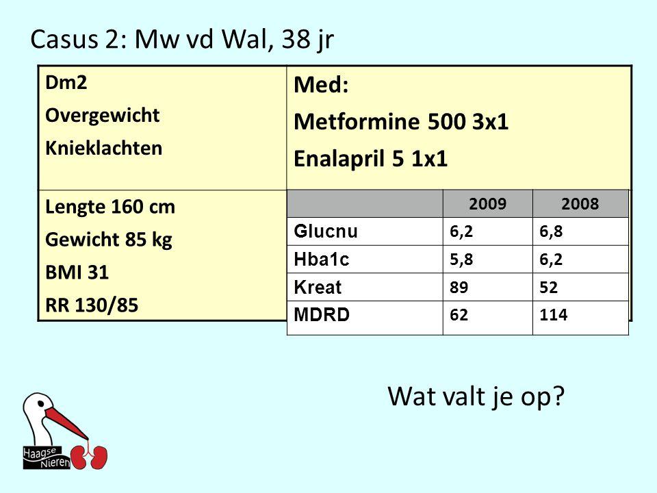 Casus 2: Mw vd Wal, 38 jr Wat valt je op Med: Metformine 500 3x1