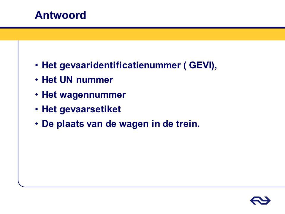 Antwoord Het gevaaridentificatienummer ( GEVI), Het UN nummer