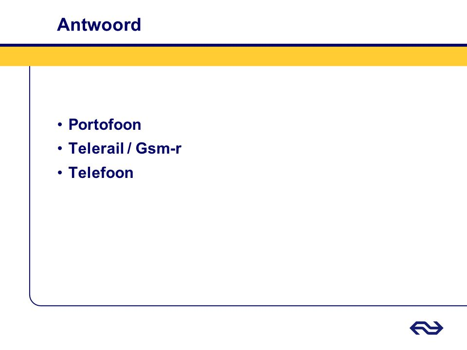Antwoord Portofoon Telerail / Gsm-r Telefoon