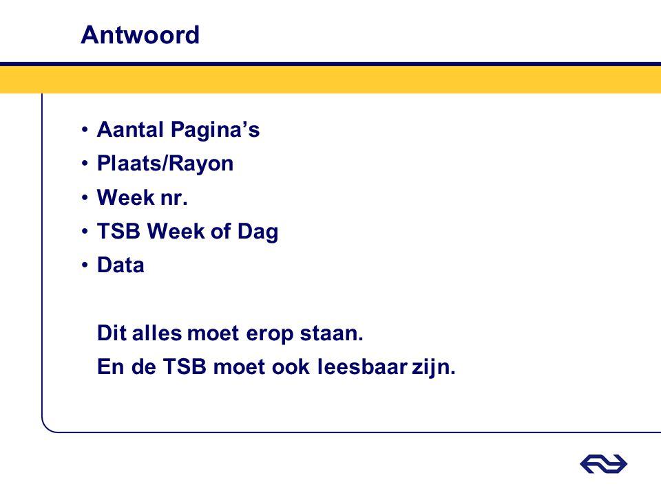 Antwoord Aantal Pagina's Plaats/Rayon Week nr. TSB Week of Dag