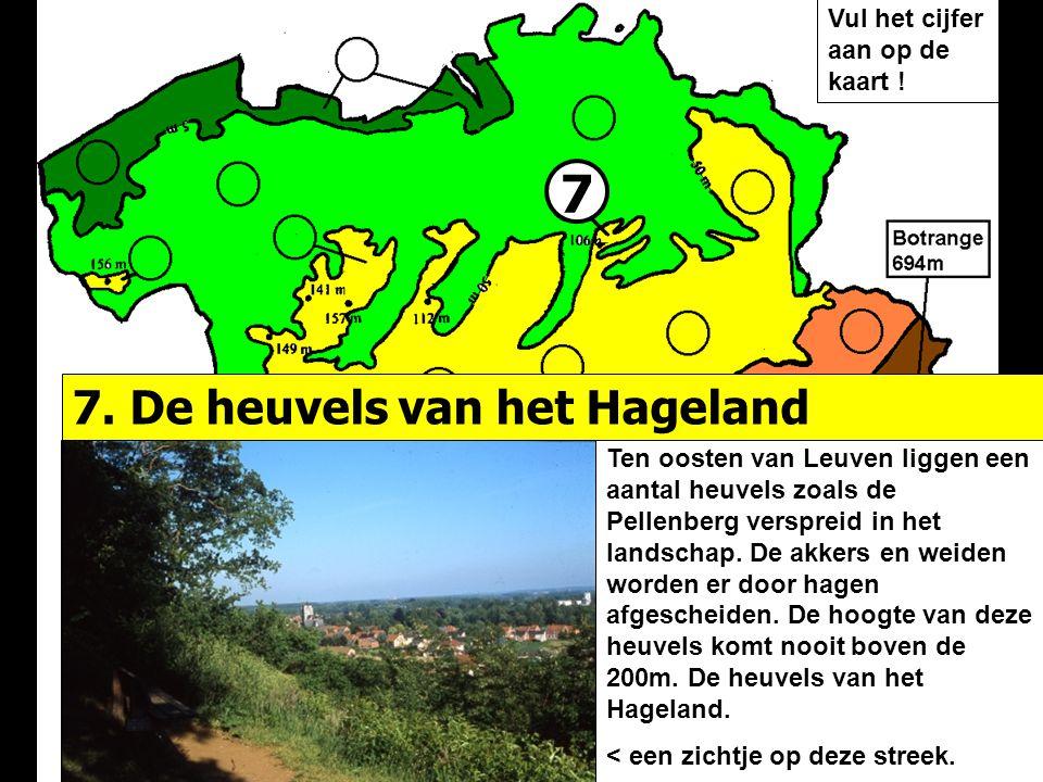 7 7. De heuvels van het Hageland Vul het cijfer aan op de kaart !