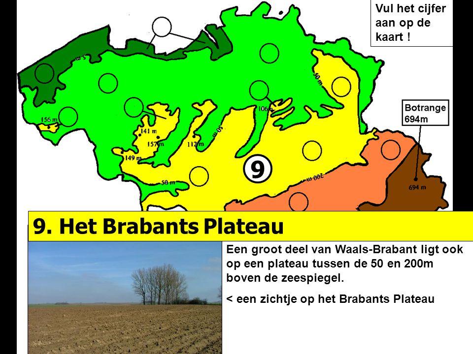 9 9. Het Brabants Plateau Vul het cijfer aan op de kaart !