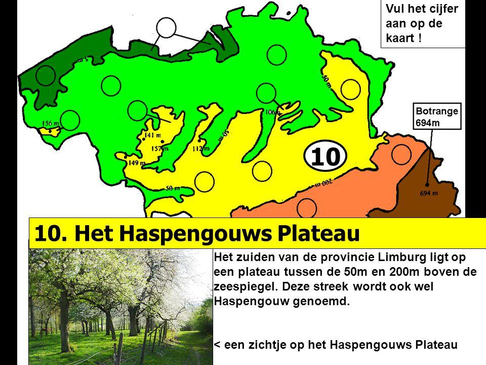 10 10. Het Haspengouws Plateau Vul het cijfer aan op de kaart !