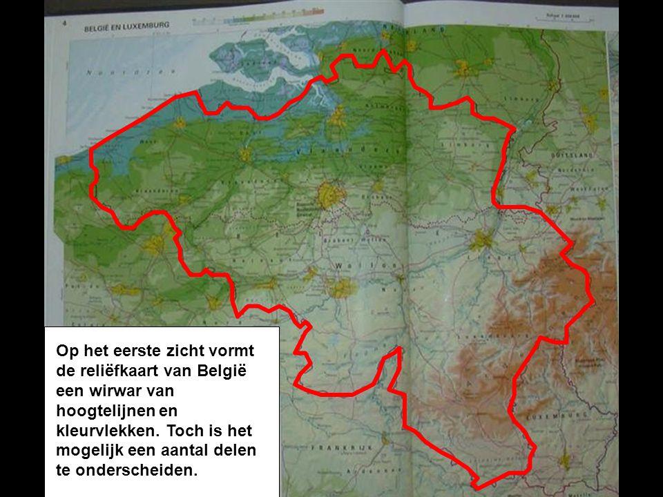 Op het eerste zicht vormt de reliëfkaart van België een wirwar van hoogtelijnen en kleurvlekken.