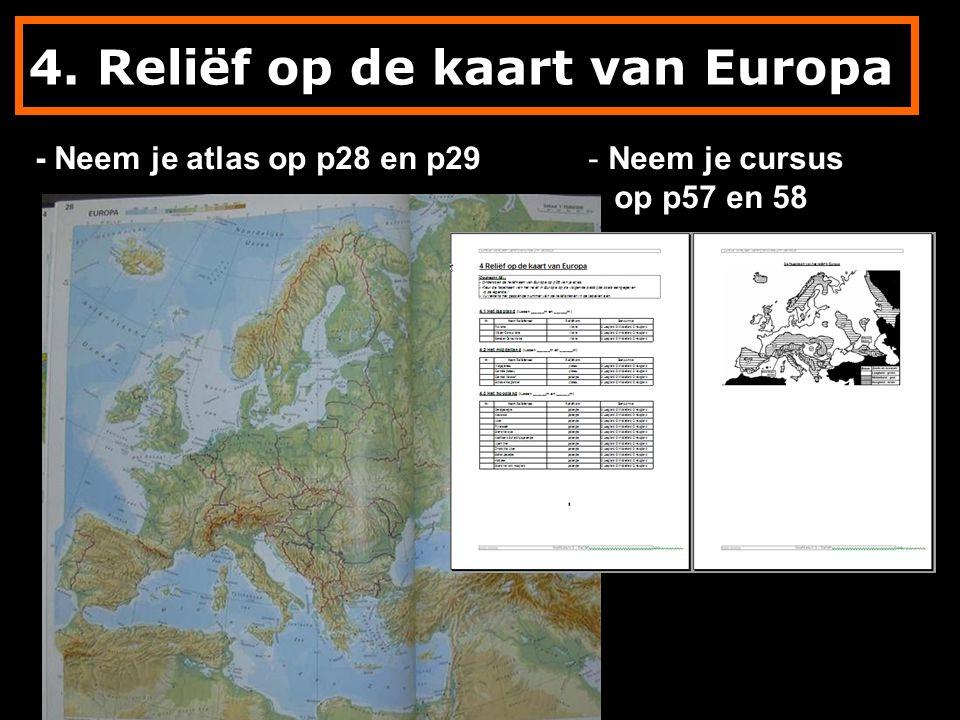 4. Reliëf op de kaart van Europa