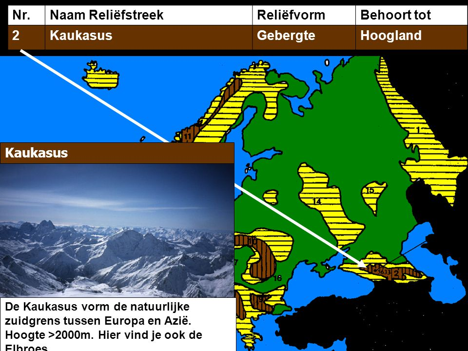 Nr. Naam Reliëfstreek Reliëfvorm Behoort tot 2 Kaukasus Gebergte