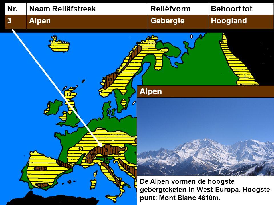 Nr. Naam Reliëfstreek Reliëfvorm Behoort tot 3 Alpen Gebergte Hoogland