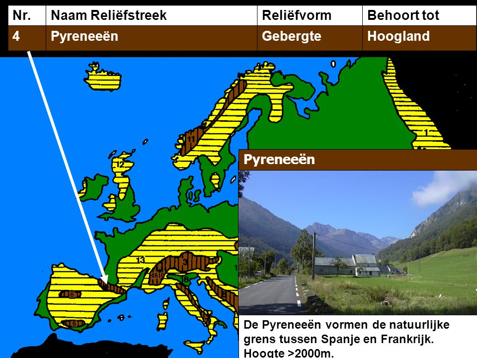 Nr. Naam Reliëfstreek Reliëfvorm Behoort tot 4 Pyreneeën Gebergte