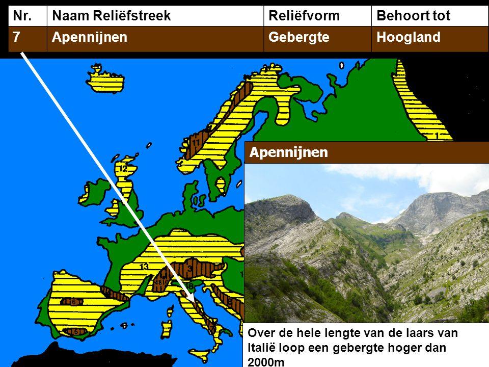 Nr. Naam Reliëfstreek Reliëfvorm Behoort tot 7 Apennijnen Gebergte
