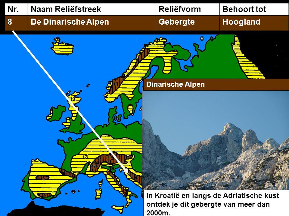 Nr. Naam Reliëfstreek Reliëfvorm Behoort tot 8 De Dinarische Alpen
