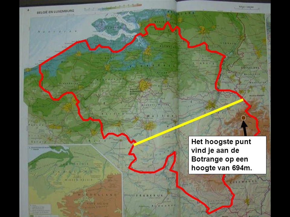 Het hoogste punt vind je aan de Botrange op een hoogte van 694m.