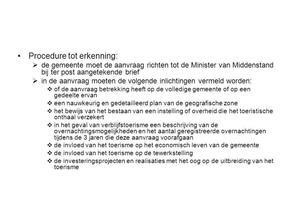 Procedure tot erkenning: