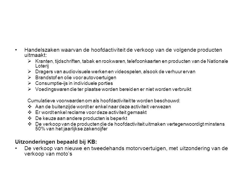 Uitzonderingen bepaald bij KB: