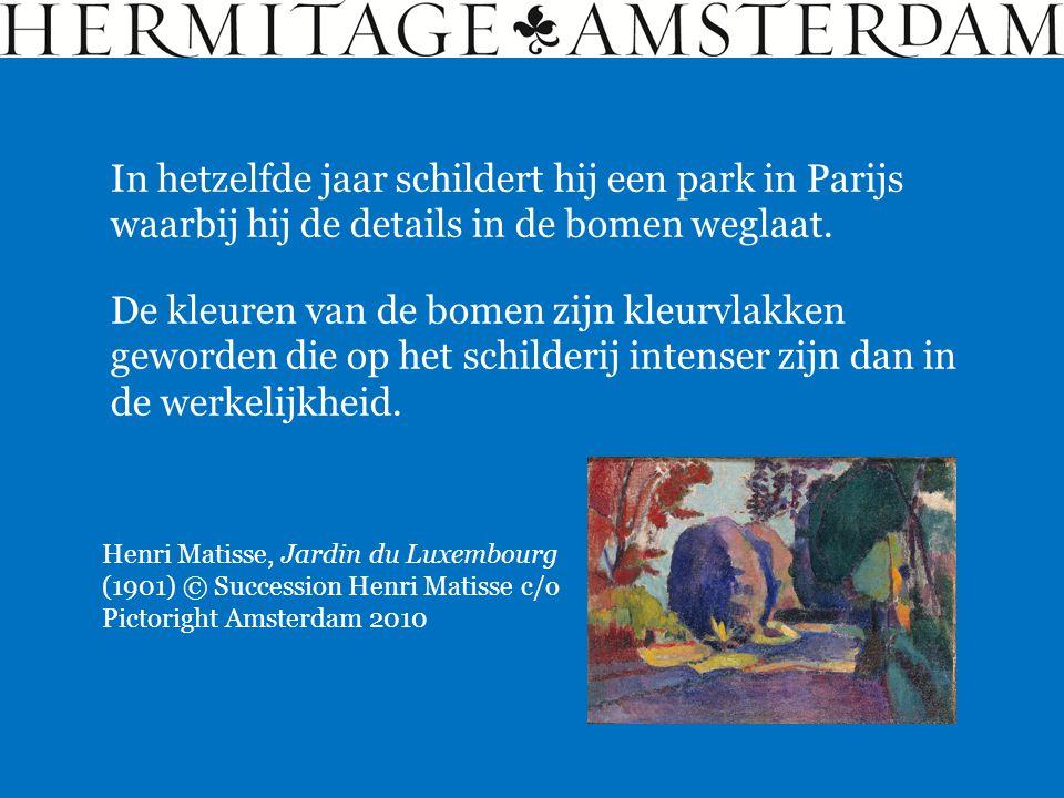 In hetzelfde jaar schildert hij een park in Parijs waarbij hij de details in de bomen weglaat.