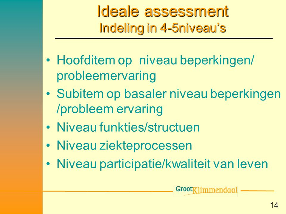 Ideale assessment Indeling in 4-5niveau's
