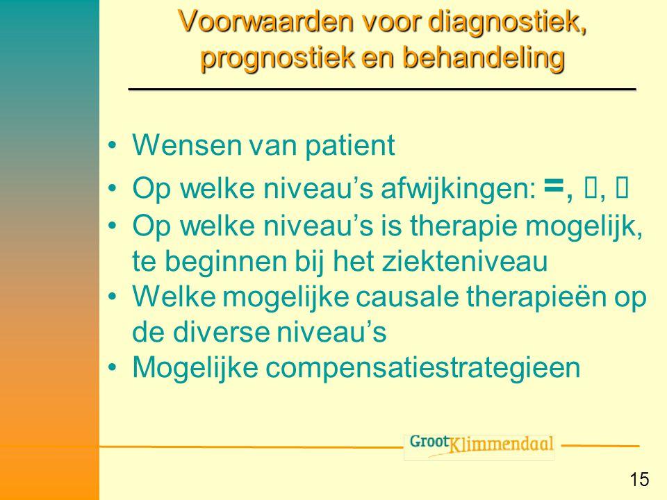 Voorwaarden voor diagnostiek, prognostiek en behandeling