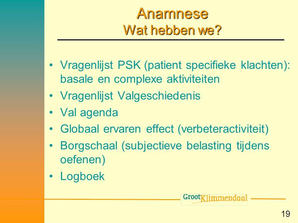Anamnese Wat hebben we Vragenlijst PSK (patient specifieke klachten): basale en complexe aktiviteiten.
