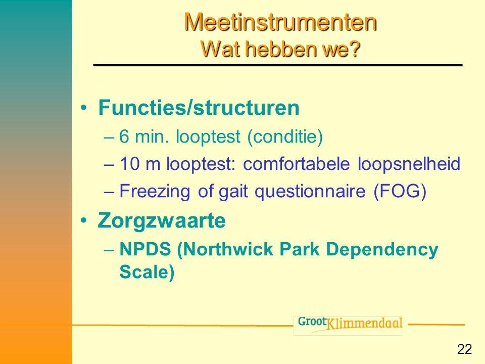 Meetinstrumenten Wat hebben we