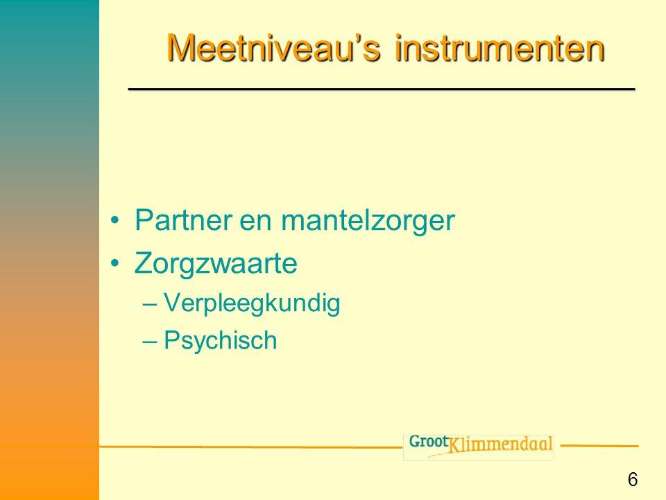 Meetniveau's instrumenten
