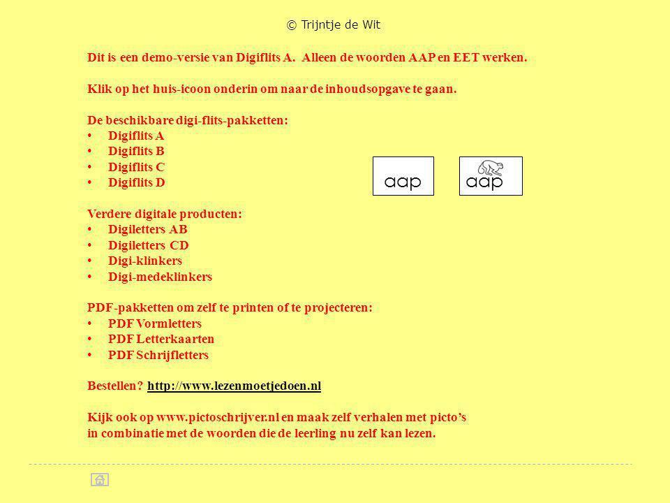 © Trijntje de Wit Dit is een demo-versie van Digiflits A. Alleen de woorden AAP en EET werken.