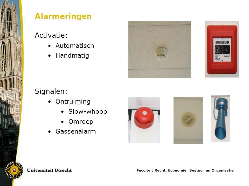 Alarmeringen Activatie: Signalen: Automatisch Handmatig Ontruiming
