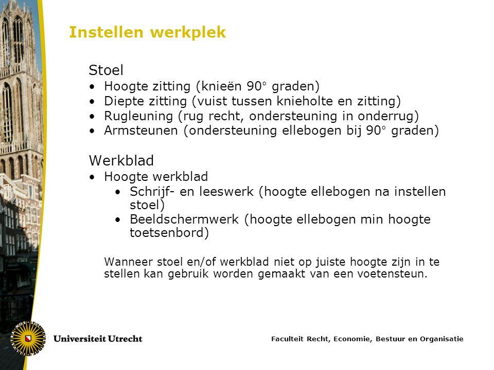 Instellen werkplek Stoel Werkblad Hoogte zitting (knieën 90° graden)