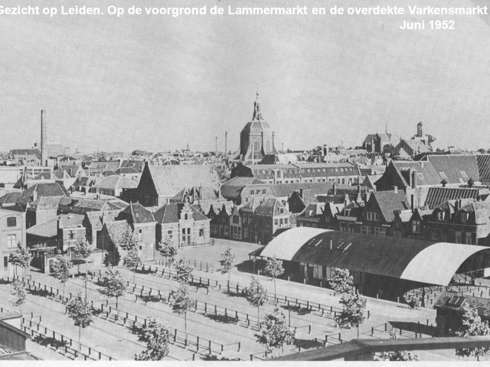 Gezicht op Leiden. Op de voorgrond de Lammermarkt en de overdekte Varkensmarkt