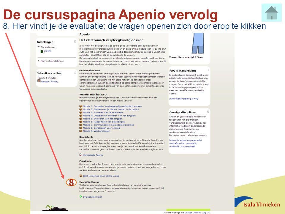 De cursuspagina Apenio vervolg